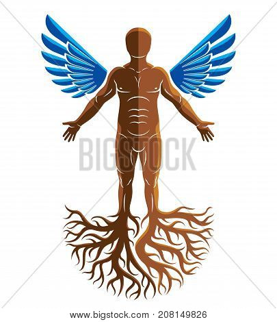 Vector artistic graphic illustration of muscular human self. Strong roots and angel wings as symbol of personality growth freedom and development.