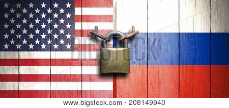 Usa And China Flags On Wooden Door With Padlock. 3D Illustration