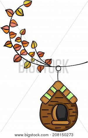 Scalable vectorial image representing a autumn tree branch with wooden cage, isolated on white.