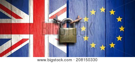 United Kingdom And European Union Flags On Wooden Door With Padlock. 3D Illustration