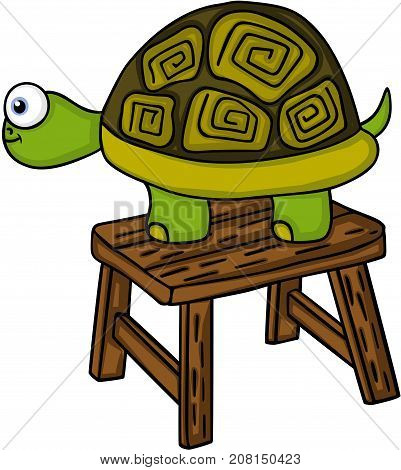 Scalable vectorial image representing a turtle on little wooden bench, isolated on white.