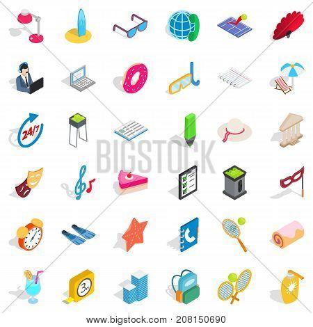 Mask icons set. Isometric style of 36 mask vector icons for web isolated on white background