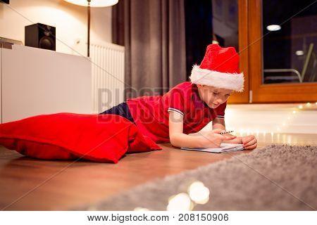 Little Boy Child Preparing Wish List