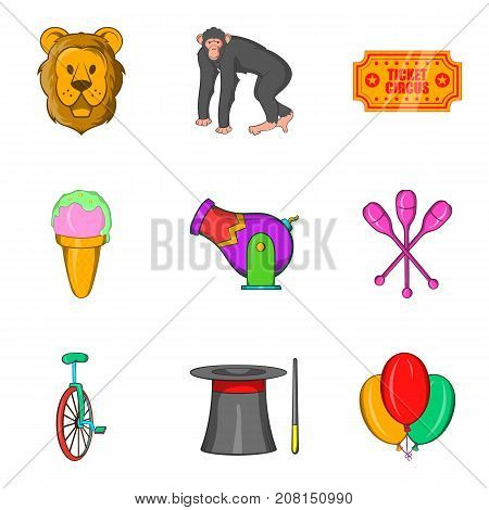 Memorable show icons set. Cartoon set of 9 memorable show vector icons for web isolated on white background