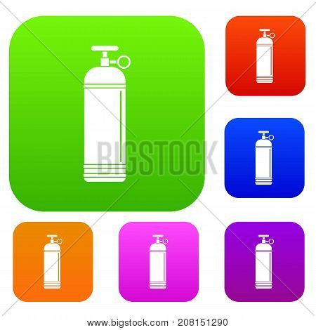 Compressed gas container set icon color in flat style isolated on white. Collection sings vector illustration