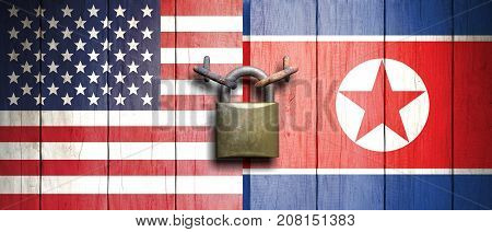 Usa And North Korea Flags On Wooden Door With Padlock. 3D Illustration
