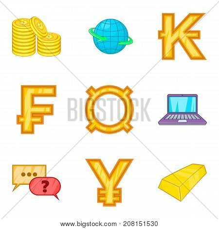 Stock of gold icons set. Cartoon set of 9 stock of gold vector icons for web isolated on white background
