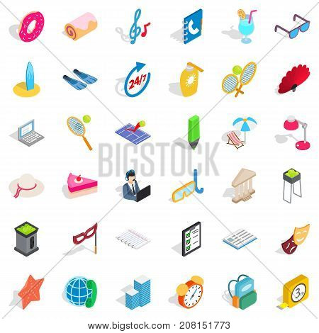 All day icons set. Isometric style of 36 all day vector icons for web isolated on white background