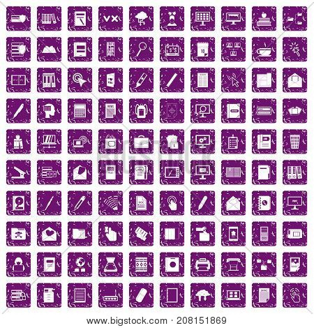 100 folder icons set in grunge style purple color isolated on white background vector illustration