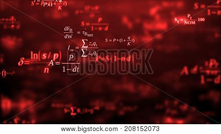 Abstract background. The camera flies past a large number of mathematical formulas on a dark background. Business concept. 3d render. School education presentation or graduation project.