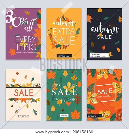 Autumn Sale Website Banners Web Template Collection. Can Be Used For Mobile Website Banners, Web Des