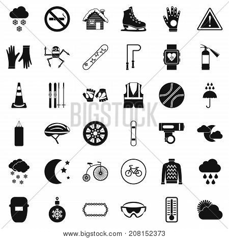 Welding mask icons set. Simple style of 36 welding mask vector icons for web isolated on white background