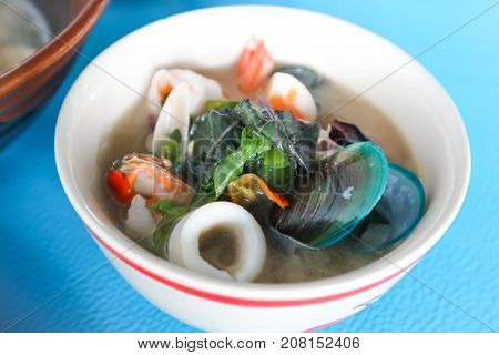 seafood soup spicy soup or Tom yum Thai style