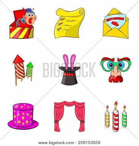 Prank icons set. Cartoon set of 9 prank vector icons for web isolated on white background