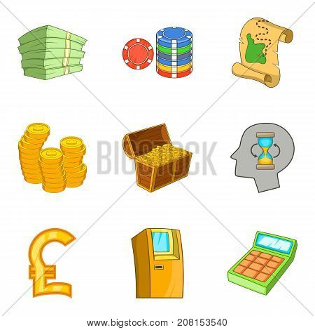 Rich man icons set. Cartoon set of 9 rich man vector icons for web isolated on white background