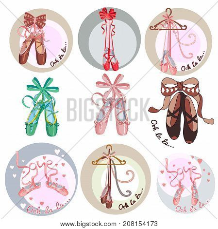 Ballet shoes. Collection of stickers on the theme of ballet dance. Cartoon style. Vector illustration