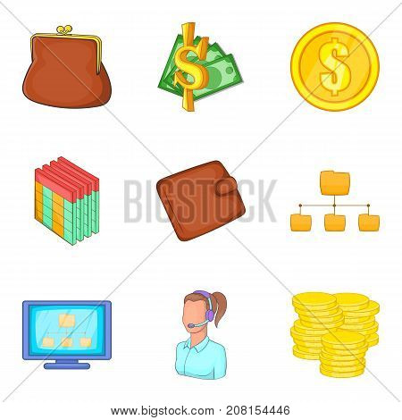 Rich icons set. Cartoon set of 9 rich vector icons for web isolated on white background