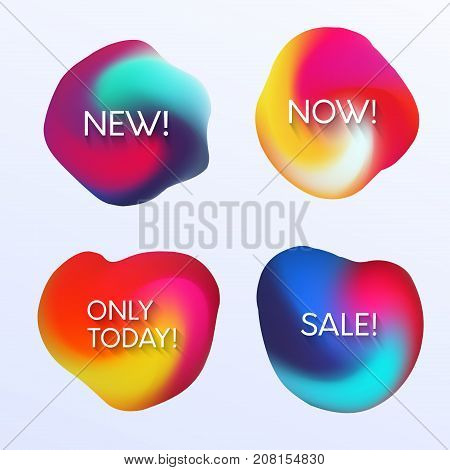 Abstract Colorful Gradient Blot Bubble With Tittle. New, Now, Only Today And Sale Banners Set.