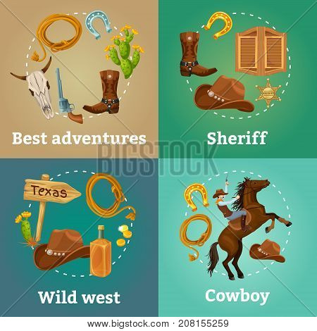 Colorful wild west square composition with cowboy and sheriff equipment cactus pointer horseshoes saloon door vector illustration
