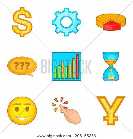 Money supply icons set. Cartoon set of 9 money supply vector icons for web isolated on white background