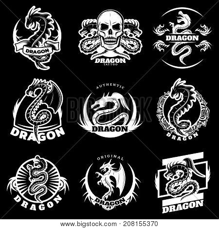 Vintage white dragon tattoo labels set with letterings fantasy reptiles skull flowers on black background isolated vector illustration