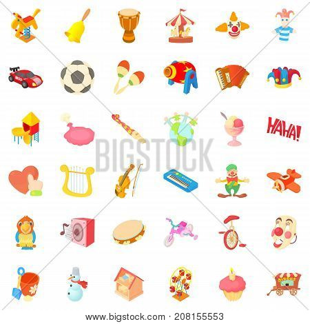 Playground cons set. Cartoon style of 36 playground vector icons for web isolated on white background