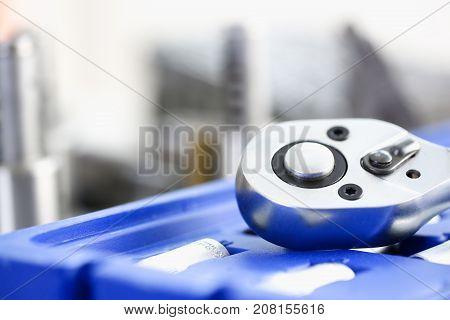 Tools instrument closeup . Car repair key, professional instrument shop or store concept