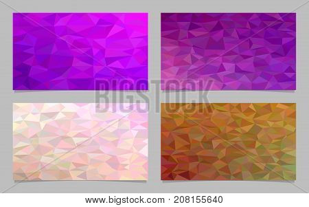 Polygonal irregular triangle tile mosaic card background set - modern vector mosaic design collection from colored triangles
