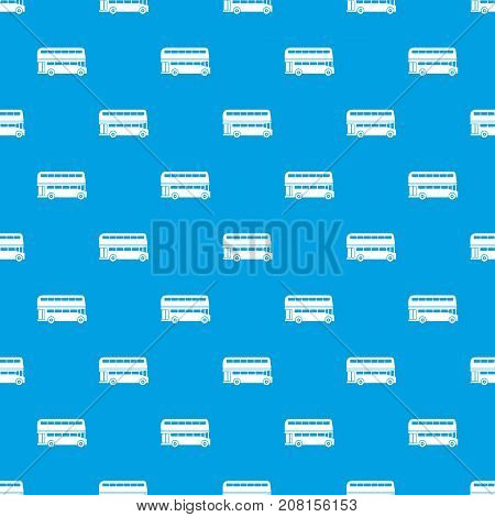 Double decker bus pattern repeat seamless in blue color for any design. Vector geometric illustration