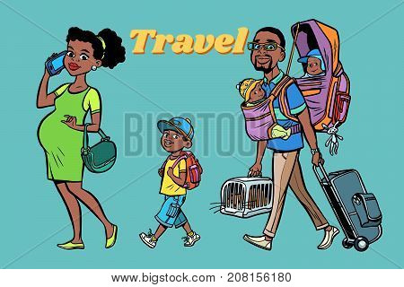 African family travelers, mom dad and kids. A pregnant woman and caring man. Tour with animals and children. Hand drawn illustration cartoon pop art retro vector style