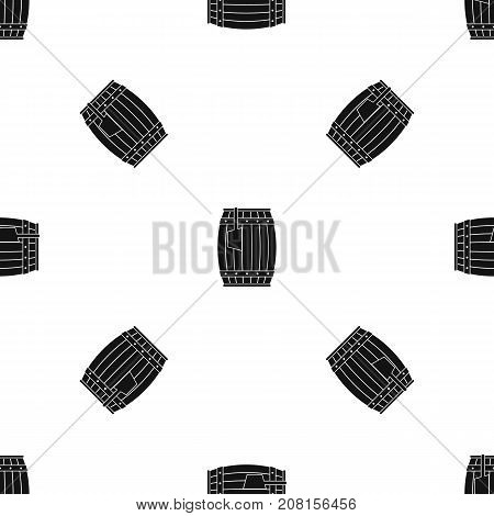 Wooden barrel with ladle pattern repeat seamless in black color for any design. Vector geometric illustration