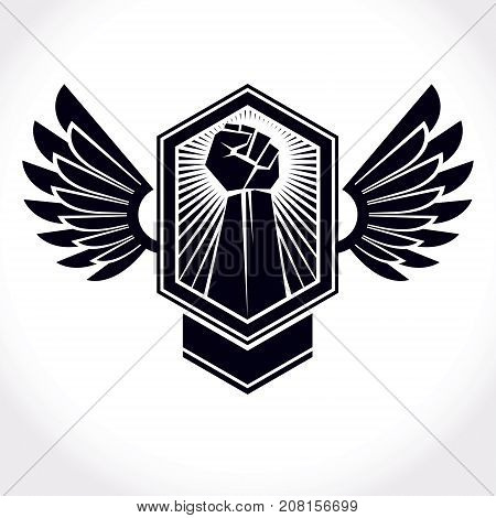 Vector symbol made using raised arm of muscular male and eagle wings. Freedom for the personality can be used as tattoo.