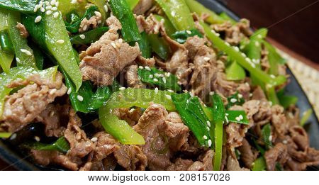Chinese Quick Beef Stir-Fry , close up