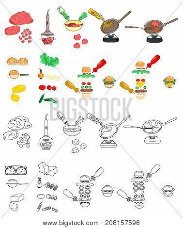 Recipe Burger hamburger cheeseburger beef burger sausage vector diy instruction manual illustration sketch