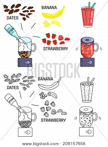 Recipe detox smoothies strawberry drink vector diy instruction manual illustration sketch