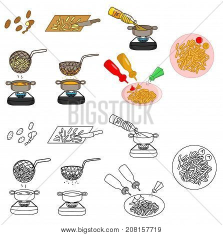 Recipe French Fries vector diy instruction manual illustration sketch