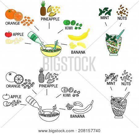 Recipe Fruit salad vector diy instruction illustration sketch meal food