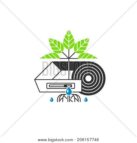 Drip irrigation icon. Drop tape with emitter, drops, plant. Modern linear style. Vector illustration.