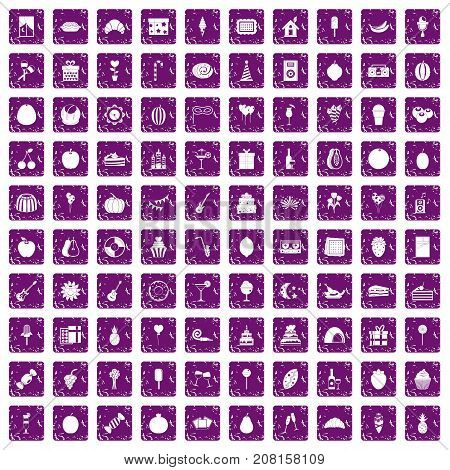 100 fruit party icons set in grunge style purple color isolated on white background vector illustration