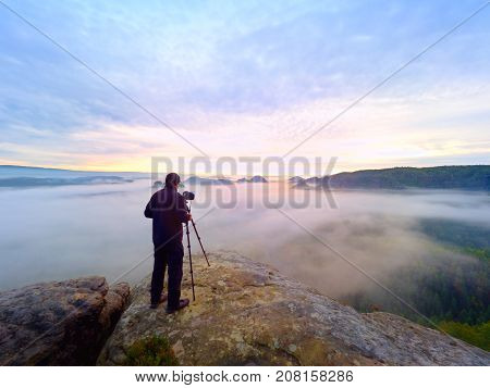 Photographer Framing Picture With Eye On Viewfinder. Photo Enthusiast  Enjoy Work, Fall Nature