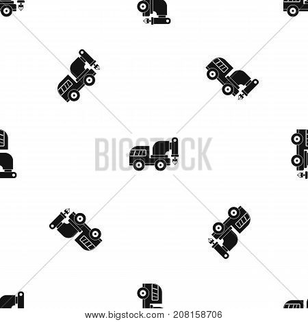 Drilling machine pattern repeat seamless in black color for any design. Vector geometric illustration