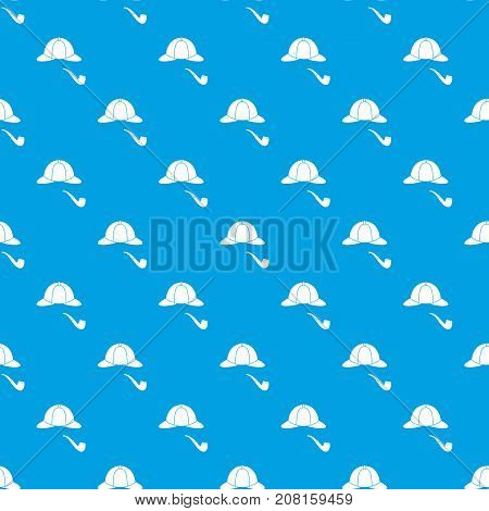 Hat and pipe pattern repeat seamless in blue color for any design. Vector geometric illustration