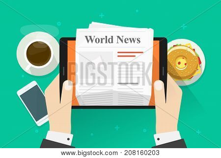 Newspaper on tablet vector illustration, flat cartoon person hands reading world news magazine on electronic device, idea coffee break or lunch, business breakfast table top view