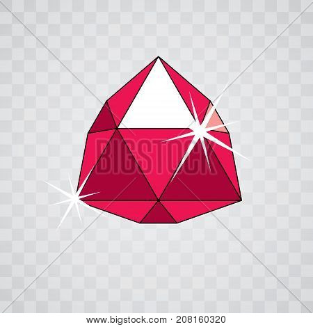 Vector elegant sparkling gem. Glossy diamond icon symbol. Faceted gemstone illustration.