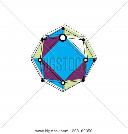 Innovation technologies logotype. Abstract three-dimensional shape vector design element.
