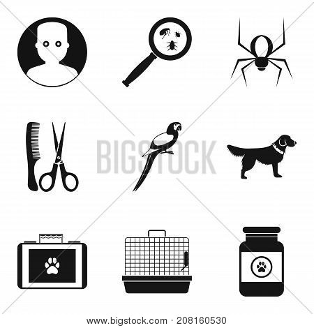 Sick animal icons set. Simple set of 9 sick animal vector icons for web isolated on white background