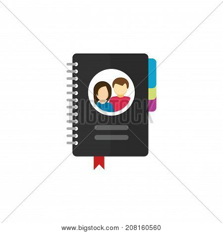 Notepad for contacts vector icon illustration isolated on white background, flat cartoon paper notebook with bookmarks, address book or meeting organizer