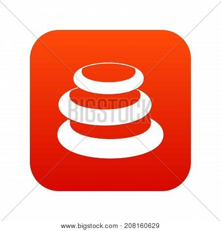 Stack of basalt balancing stones icon digital red for any design isolated on white vector illustration
