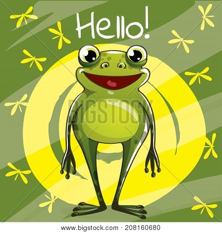 Vector illustration of cute cartoon hapy fun frog. Greeting card, postcard. Hello.