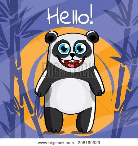 Vector illustration of cute cartoon hapy fun panda. Greeting card, postcard. Hello.
